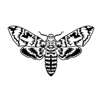 Retro zwarte nachtvlinder. clipart illustratie