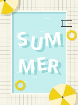 Retro zwembad zomer belettering