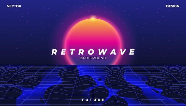 Retrowave cyber neon achtergrond landschap 80s stijl.