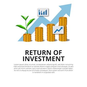 Return of investment groei investeren aandelenmarkt gouden munt dollar en plant boom groeien pijl succes