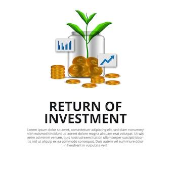 Return of investment groei investeren aandelenmarkt gouden munt dollar en plantenboom groeien in de glazen fles