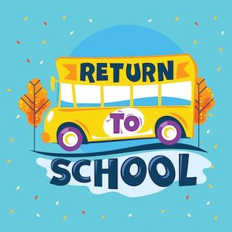 Return to school phrase, school bus ga naar road school, back to school illustration