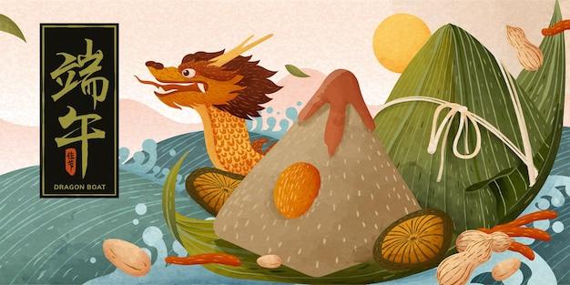 Reusachtige rijstbollen en traditionele boot die op water drijft, banner van het festival van het drakenbootfestival