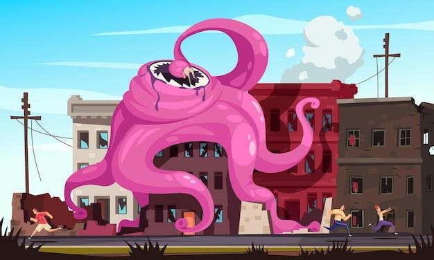 Reuzemonster met tentakels die de stad vernietigen en mensen die ervan wegrennen cartoonillustratie