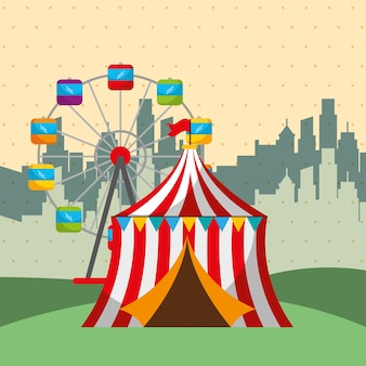 Reuzenrad tent stad carnaval kermisfestival
