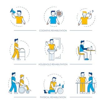Revalidatie menselijke man karakter voor cognitieve, fysieke en huishoudelijke revalidatie geneeskunde therapie