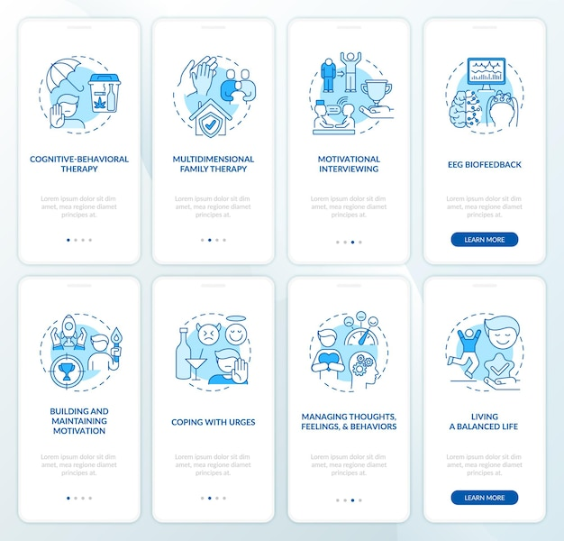 Revalidatie onboarding mobiele app paginascherm met concepten set