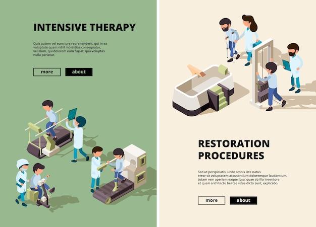 Revalidatie van mensen. artsenzorg aan gehandicapte assistent toont verschillende oefeningen verticale banners.