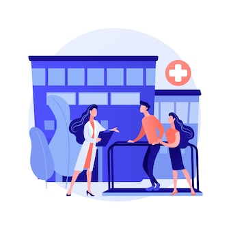 Revalidatie ziekenhuis abstract concept vectorillustratie. revalidatiecentrum, revalidatiecentrum, stabilisatie van medische aandoeningen, geestelijke gezondheidszorg, abstracte metafoor voor medische faciliteit.