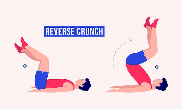 Reverse crunch oefening vrouw workout fitness aerobic en oefeningen