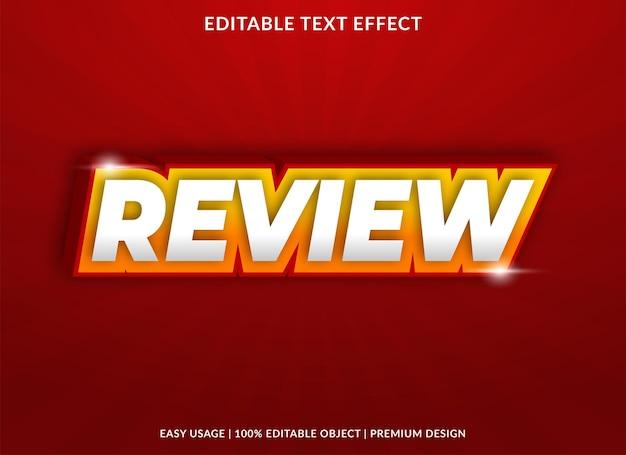 Review teksteffectsjabloon met gewaagde stijl