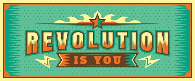 Revolutie ben je belettering bannerontwerp
