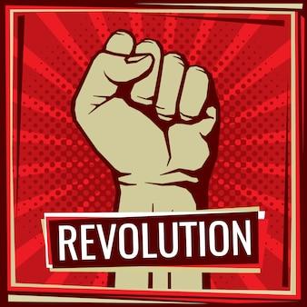 Revolutie gevecht poster met opgeheven werknemer hand vuist