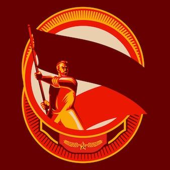 Revolutie man met lege vlag badges