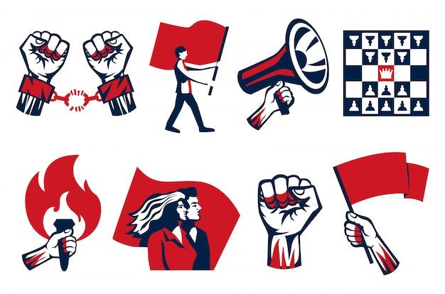 Revolutie propageren roept op tot strijd vrijheid eenheid symbolen 2 horizontale vintage constructivistische pictogrammen sets geïsoleerd