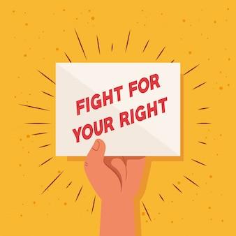 Revolutie, protest met opgeheven armvuist om te vechten voor uw recht