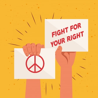 Revolutie, protesteer met opgeheven handen om voor uw recht te vechten