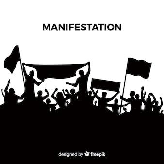Revolutiesamenstelling met silhouet van mensen die protesteren