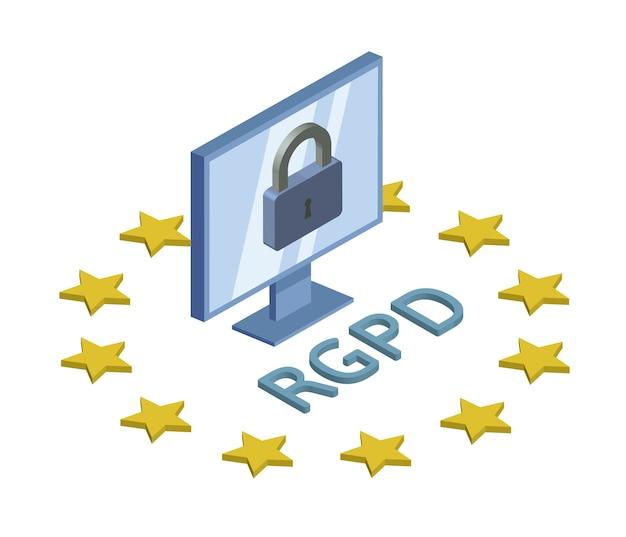 Rgpd, spaanse, franse en italiaanse versie van gdpr. algemene verordening gegevensbescherming. concept isometrische illustratie. de bescherming van persoonlijke gegevens. geïsoleerd op witte achtergrond.