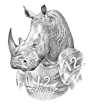 Rhino badge, retro neushoorn