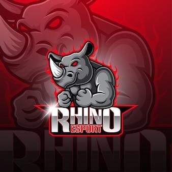 Rhino esport mascotte logo