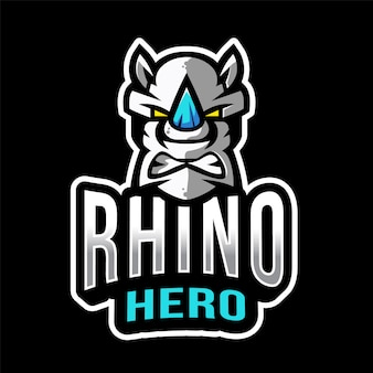 Rhino hero esport logo sjabloon