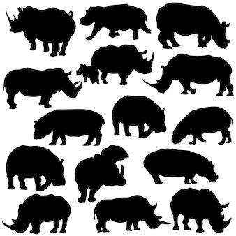 Rhino hipo dierlijke illustraties kunst silhouet vector