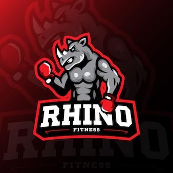 Rhino mascotte logo gaming esport illustratie