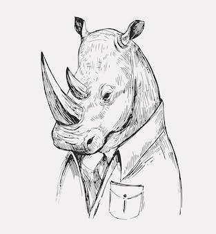 Rhino schets. hand getekende illustratie