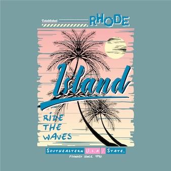 Rhode island grafisch met palmboom voor print t-shirt