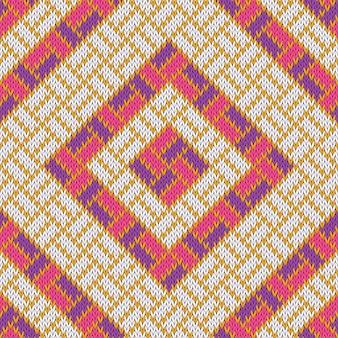 Rhombisch wollen gezellig gebreid naadloos patroon met gouden strepen