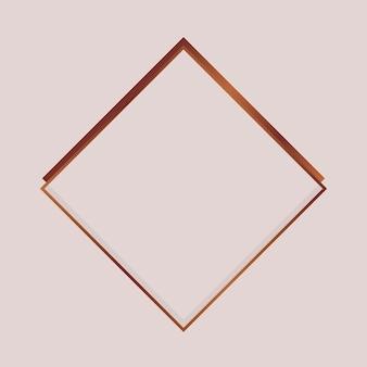 Rhombus koperen frame op een lege achtergrond