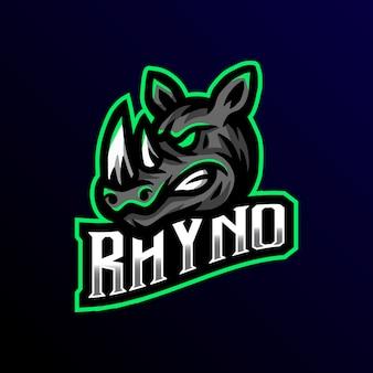 Rhyno mascotte logo esport gaming illustratie.