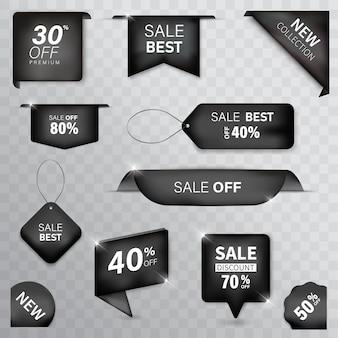 Ribbon tag set kleur zwart premium op achtergrond wit