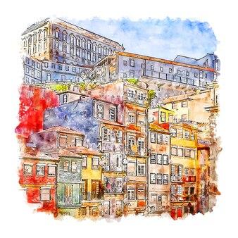 Ribeira porto aquarel schets hand getrokken illustratie