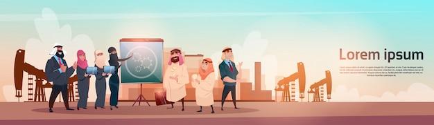 Rich arab business man oil trade pumpjack rig platform black wealth concept