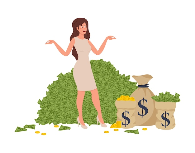 Rich won een plat stripverhaalelement met rijke vrouw badend in miljonair