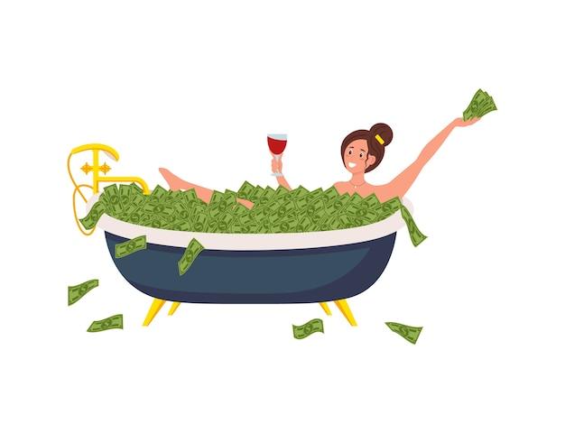 Rich wonan in de badkamer met geld