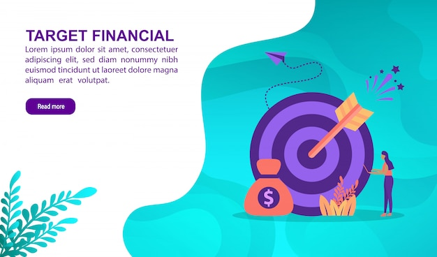 Richt financiële illustratie concept met karakter. bestemmingspaginasjabloon