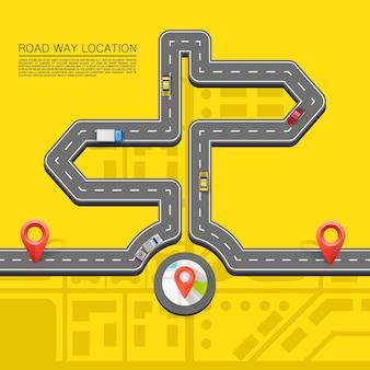 Richting weg. verhard pad op de weg. vector achtergrond