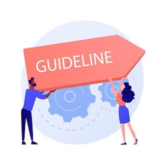 Richtlijn en regelgeving. ondernemingsrecht en beleid. bedrijfsspecificatie, instructie, richtlijnregelboek. office management ontwerp element concept illustratie