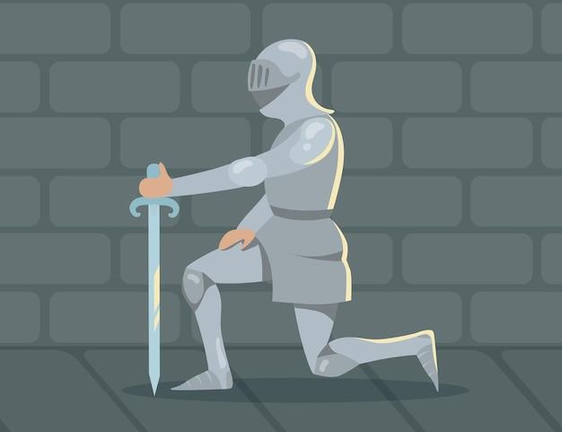 Ridder die op één knie staat vanwege trouw