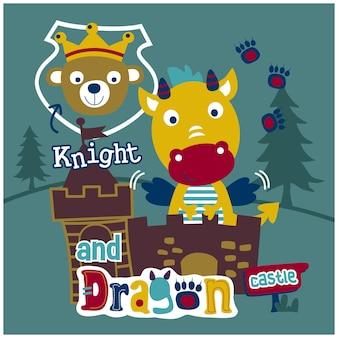 Ridder en draak grappige dieren cartoon