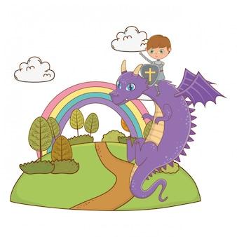 Ridder en draak van fairytale ontwerp vectorillustratie