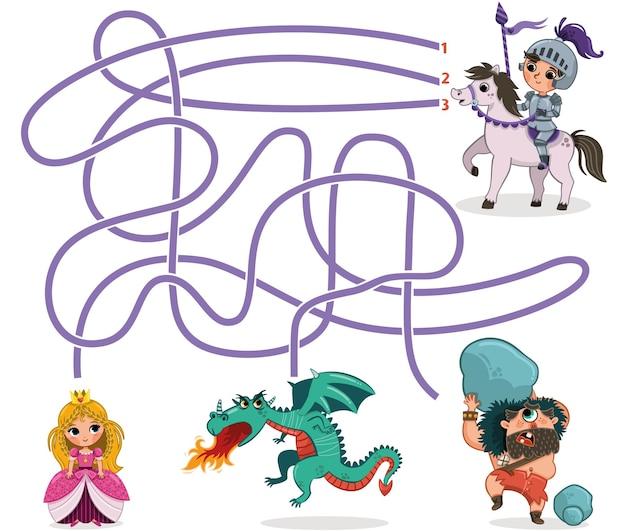 Ridder en prinses doolhofspel voor kinderen vectorillustratie