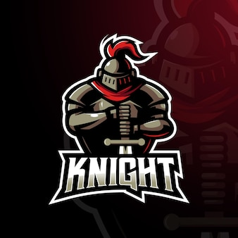 Ridder gaming mascotte logo ontwerp illustratie vector