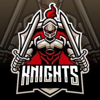 Ridder hoofd mascotte. esport-logo