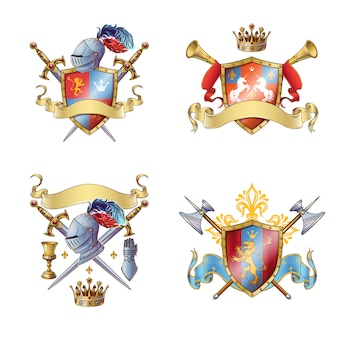 Ridder kleurrijke emblemen