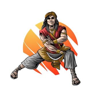 Ridder man die zwaard speelt illustratie