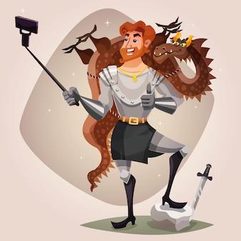 Ridder met dragon illustration